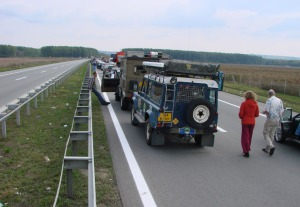 traffic jam in Serbia, on our way to Kragujevac, on sunday