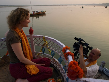 On the Ganges, Varanasi, being filmed by Hans